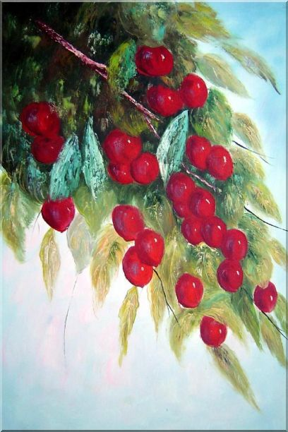 Tree with Purple Fruit at Harvest time Oil Painting Naturalism 36 x 24 Inches