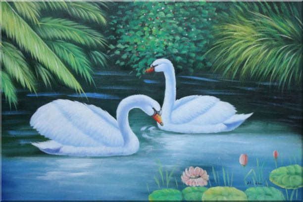 Lovely Pair of Swans in Pond With Lilies And Green Plants Oil Painting Animal Naturalism 24 x 36 Inches