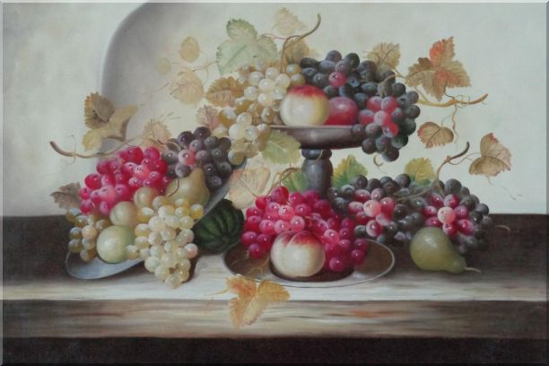 Still Life of Grapes,Peaches with Porcelain Bowl Oil Painting Fruit Classic 24 x 36 Inches