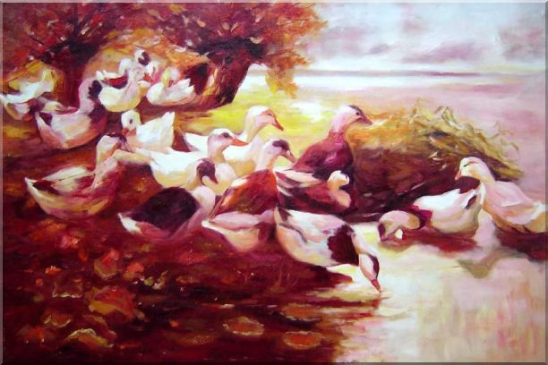 Ducks On a Lake in Autumn Oil Painting Animal Bird Impressionism 24 x 36 Inches