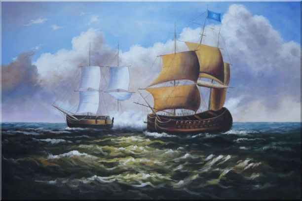 Caribbean Pirate Ship Attack Merchant Ship in Sea - 2 Canvas Set 2-canvas-set,boat classic  24 x 72 inches
