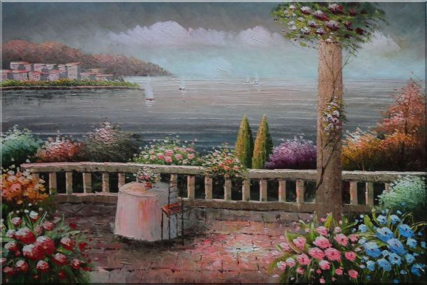 Lovely Mediterranean Retreat Before Storm Oil Painting Naturalism 24 x 36 Inches