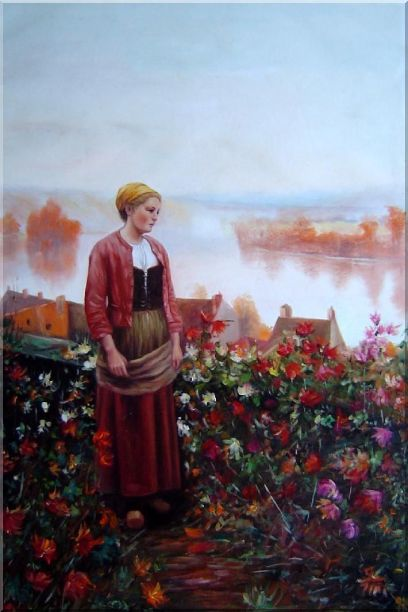 A Garden above the Seine Oil Painting Portraits Woman Classic 36 x 24 Inches