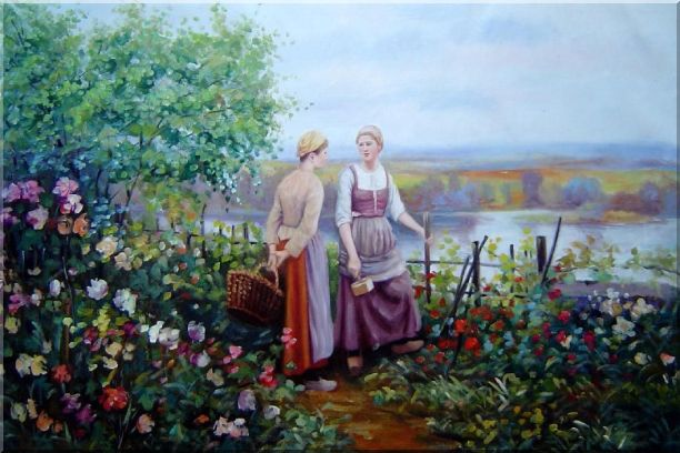 Two Ladies Talking On The Terrace Oil Painting Portraits Woman Classic 24 x 36 Inches