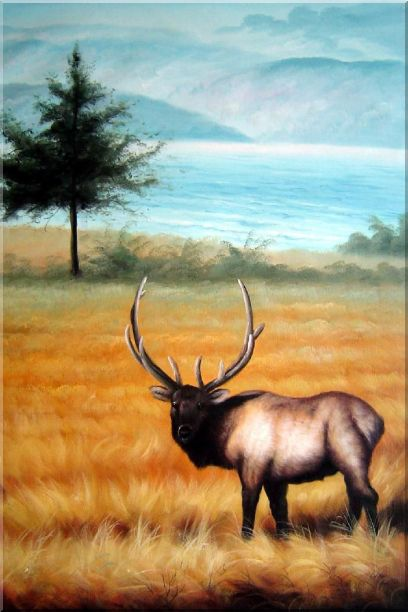 Male Bull Elk in Golden Autumn Field Oil Painting Animal Deer Classic 36 x 24 Inches