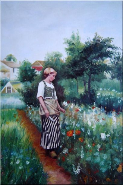 A New Day In the Garden Oil Painting Portraits Woman Classic 36 x 24 Inches