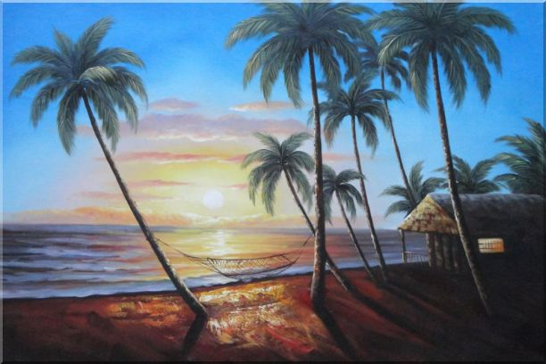 Hawaii Retreat with Palm Trees on Sunset Oil Painting Seascape America Naturalism 24 x 36 Inches