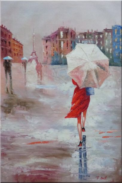 Modern Lady with Red Walking Under Umbrella in Paris Street with Eiffel Tower in View Oil Painting Portraits Woman Impressionism 36 x 24 Inches