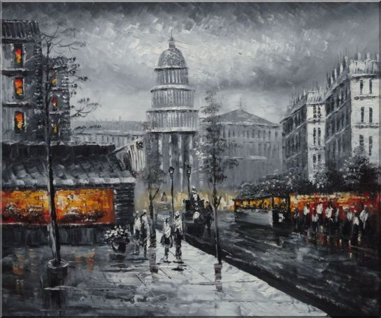 Black and White Washington D.C Cityscape Oil Painting America Impressionism 20 x 24 Inches