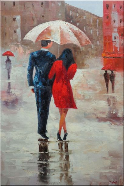 Romantic Young Couple in Blue and Red Walking Under Umbrella in Rain Street Oil Painting Portraits Impressionism 36 x 24 Inches