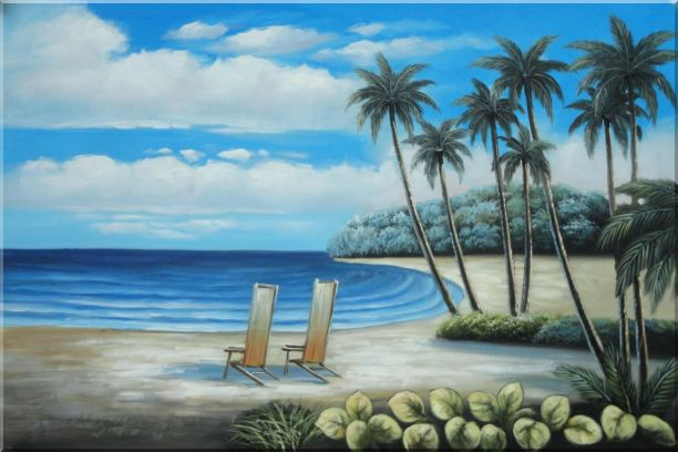 Two Chairs at the Hawaii Beach with Palm Trees Oil Painting Seascape America Naturalism 24 x 36 Inches