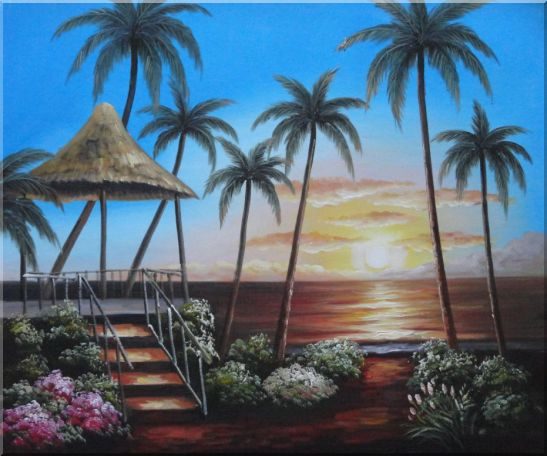Hawaii Beach with Palm Trees on Sunset - 2 Canvas Set 2-canvas-set,seascape, america naturalism  20 x 48 inches