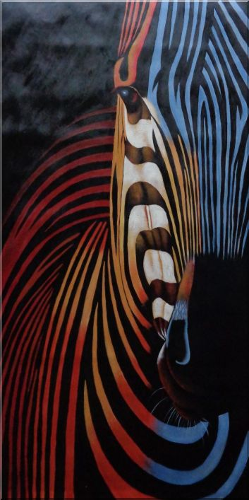 Colorful Modern Zebra I Oil Painting Animal Decorative 48 x 24 Inches