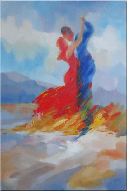 Couple in Red and Blue Dancing in the Wild Oil Painting Portraits Impressionism 36 x 24 Inches