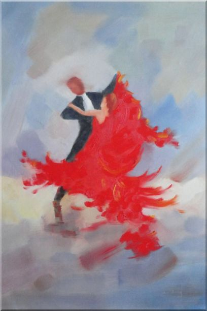 Couple Rise and Dance Happily Oil Painting Portraits Impressionism 36 x 24 Inches