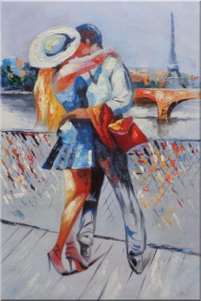 Long Passionate Kiss on Pont des Arts with Eiffel Tower in Background Oil Painting Portraits Couple Impressionism 36 x 24 Inches