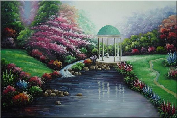 Small Pavilion in Beautiful Water Garden with Flowers Oil Painting Naturalism 24 x 36 Inches