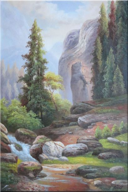 Small Stream Creek through Mountain Valley Rocks Scenery in Autumn Oil Painting Landscape Classic 36 x 24 Inches