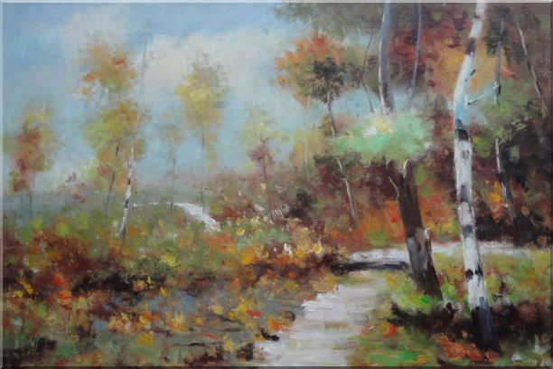 Autumn Birch Forest in Front of Village, Impressionism Oil Painting Landscape Tree 24 x 36 Inches