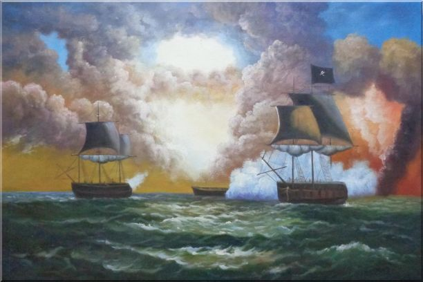 Pirate Ship Attack Merchant Ships in Sea Oil Painting Boat Classic 24 x 36 Inches