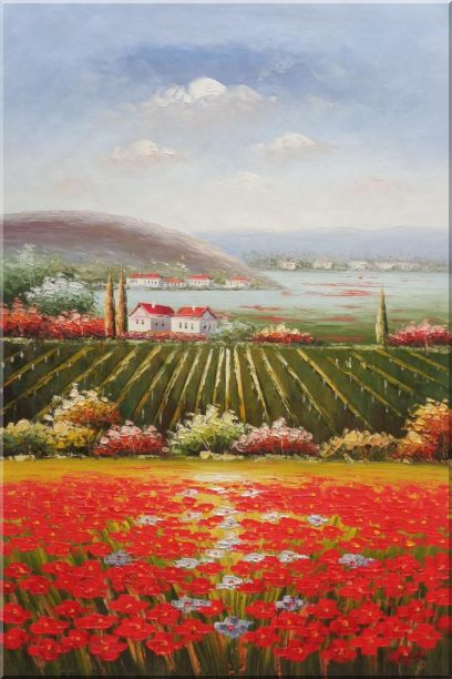 Tuscany Country Landscape with Vineyard Flower Field Oil Painting Italy Naturalism 36 x 24 Inches