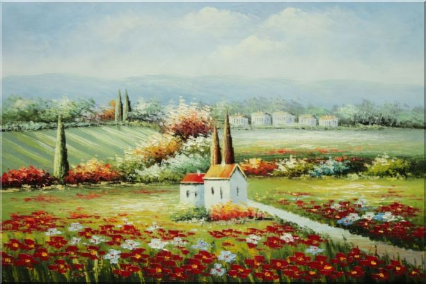 Flower Field Blossoming in Tuscany, Italy Oil Painting Landscape Naturalism 24 x 36 Inches