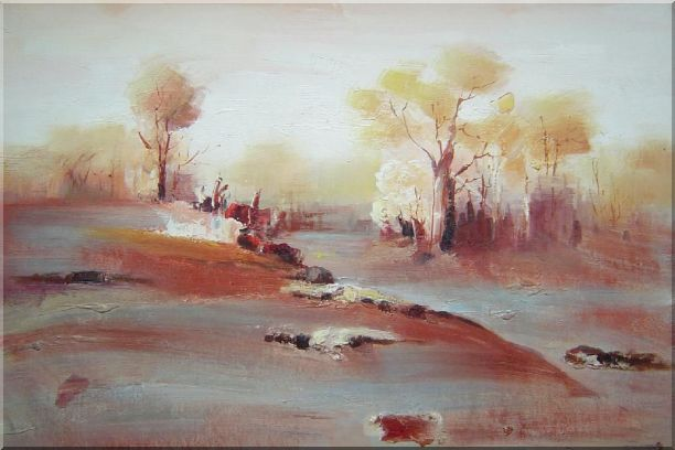 Modern Painting of Trees in White and Red Background Oil Landscape Impressionism 24 x 36 Inches