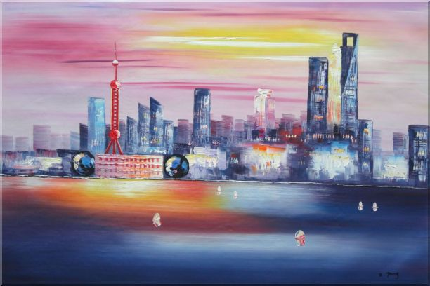 Shanghai Skyline At Huangpu River Oil Painting Cityscape China Modern 24 x 36 Inches