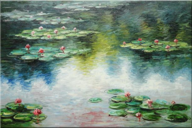 Water Lily Pond in Spring, Monet Reproduction Oil Painting Landscape River Impressionism 24 x 36 Inches