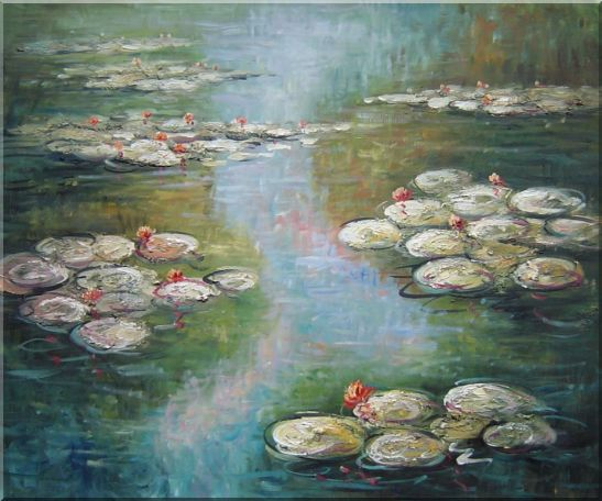 Water Lilies, Monet Reproduction Oil Painting Landscape River Impressionism 20 x 24 Inches