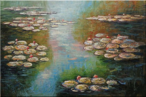 Water Lilies, Monet Reproduction Oil Painting Landscape River Impressionism 24 x 36 Inches