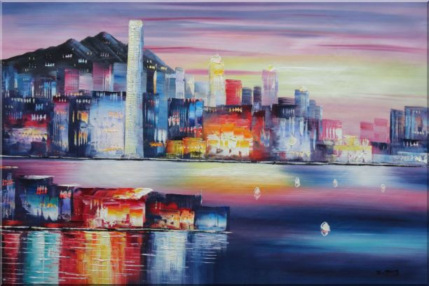 Victoria Bay Skyline Of Hong Kong Oil Painting Cityscape China Modern 24 x 36 Inches