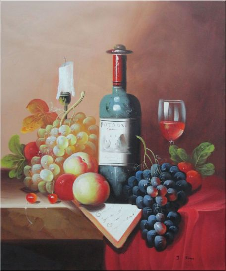 Still Life with Wine Bottle, Glass of Red Wine, and Fruits Oil Painting Classic 24 x 20 Inches
