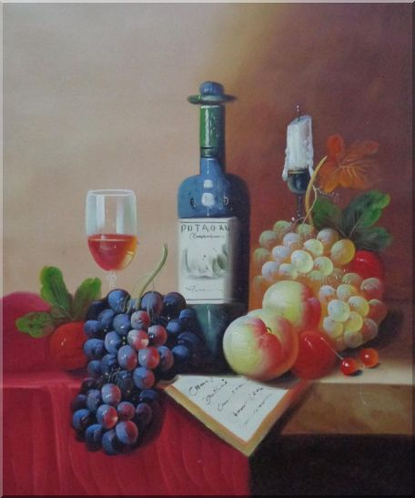 Still Life with Wine Bottle, Glass of Wine, Grapes and Peaches Oil Painting Fruit Classic 24 x 20 Inches