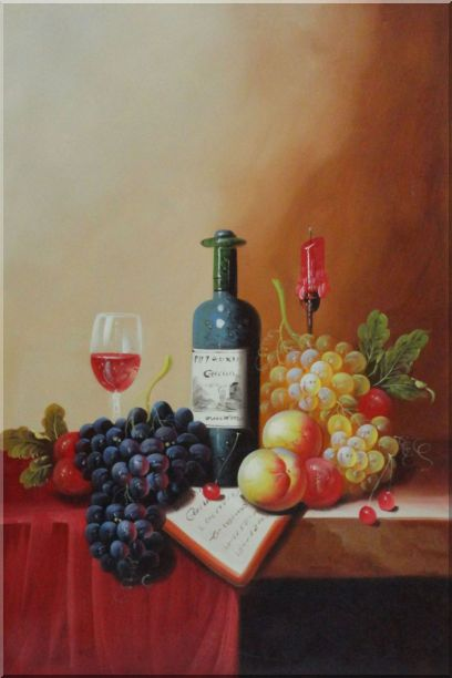 Still Life with Wine Bottle, Glass of Red Wine, and Fruits - 2 Canvas Set 2-canvas-set,still-life,fruit,wine classic  36 x 48 inches