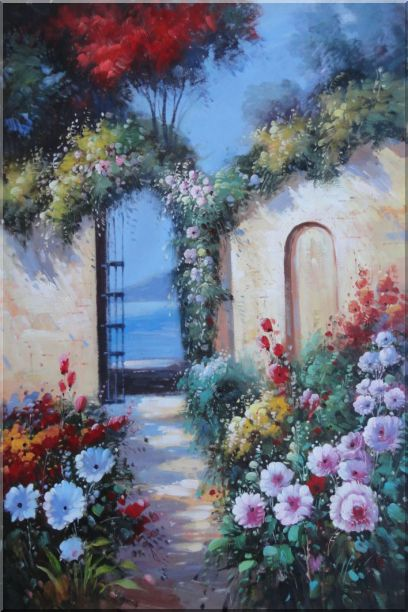 Blooming Flower Garden to Mediterranean Sea Oil Painting Naturalism 36 x 24 Inches