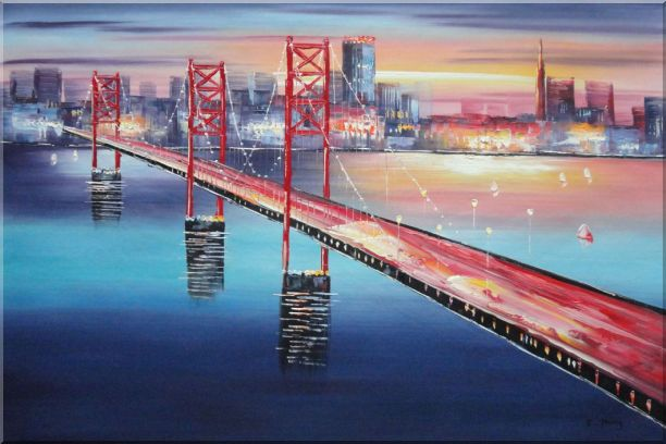 Bay Bridge To San Francisco Oil Painting Cityscape America Modern 24 x 36 Inches