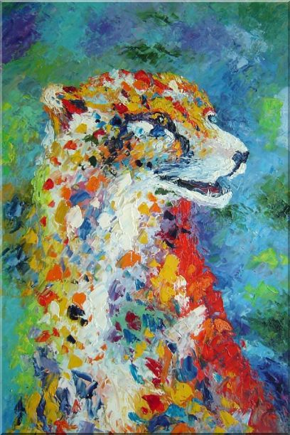 Leopard in a Modern Setting Oil Painting Animal  36 x 24 Inches