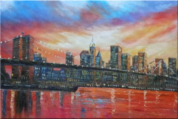 Brooklyn Bridge and Manhattan Skyline Oil Painting Cityscape America Impressionism 24 x 36 Inches