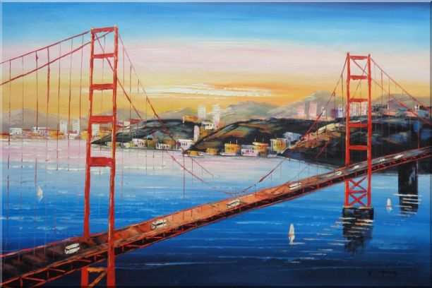 Golden Gate Bridge, San Francisco Oil Painting Cityscape America Impressionism 24 x 36 Inches