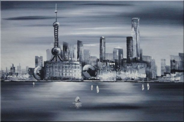 Shanghai Skyline, Huangpu River Oil Painting Cityscape Black White Modern 24 x 36 Inches