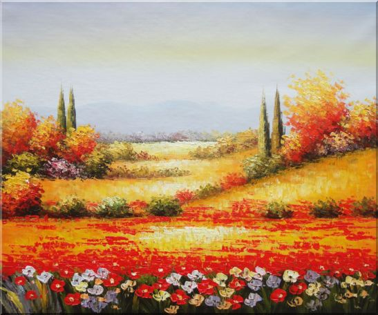 Tuscan Poppies And Cypress Oil Painting Landscape Field Italy Naturalism 20 x 24 Inches