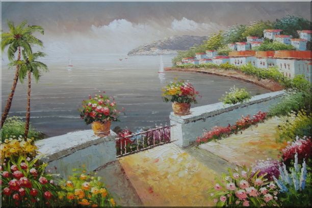 Mediterranean Flower Garden Under Cloud Oil Painting Naturalism 24 x 36 Inches
