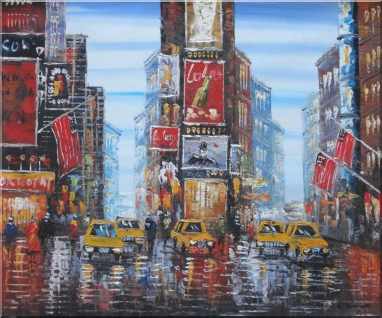 Times Square of New York City Oil Painting Cityscape America Impressionism 20 x 24 Inches