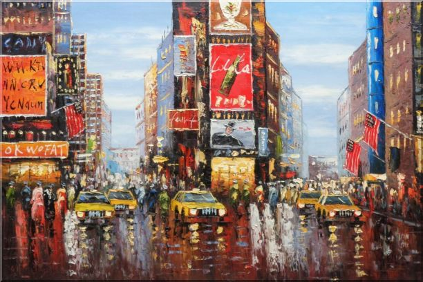 Times Square of New York City Oil Painting Cityscape America Impressionism 24 x 36 Inches