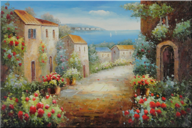 Mediterranean Coastal Garden Oil Painting Classic 24 x 36 Inches
