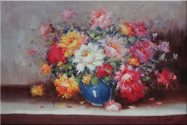 Mixed Flower Bouquet in Blue Vase Oil Painting Still Life Naturalism 24 x 36 Inches