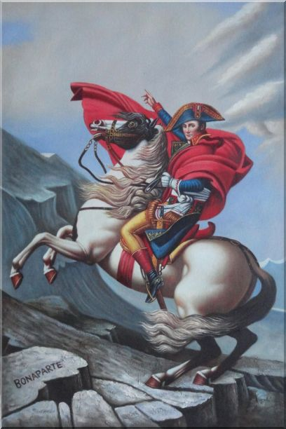 Napoleon Crossing the Alps, Jacques-Louis David Oil Painting Portraits Classic 36 x 24 Inches