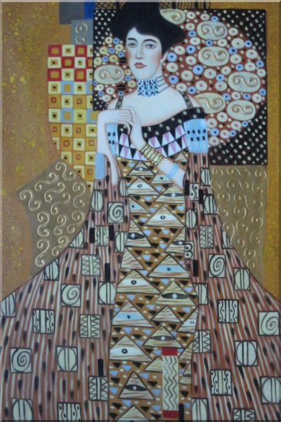Portrait Of Adele Bloch-Bauer, Gustav Klimt Replica Oil Painting Portraits Couple Modern 36 x 24 Inches