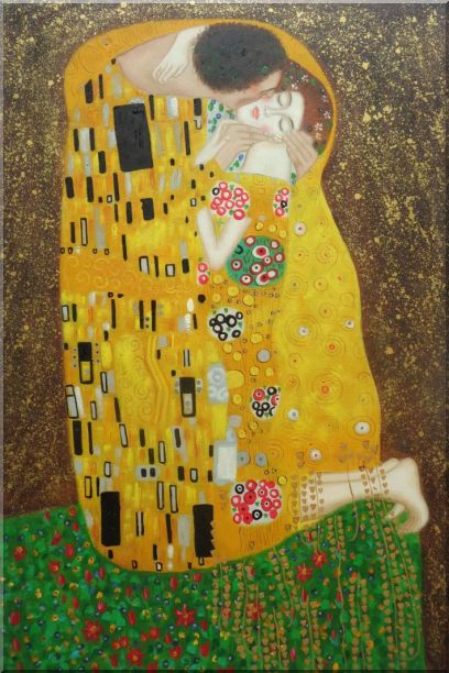 The Kiss, Gustav Klimt Replica Oil Painting Portraits Couple Modern 36 x 24 Inches